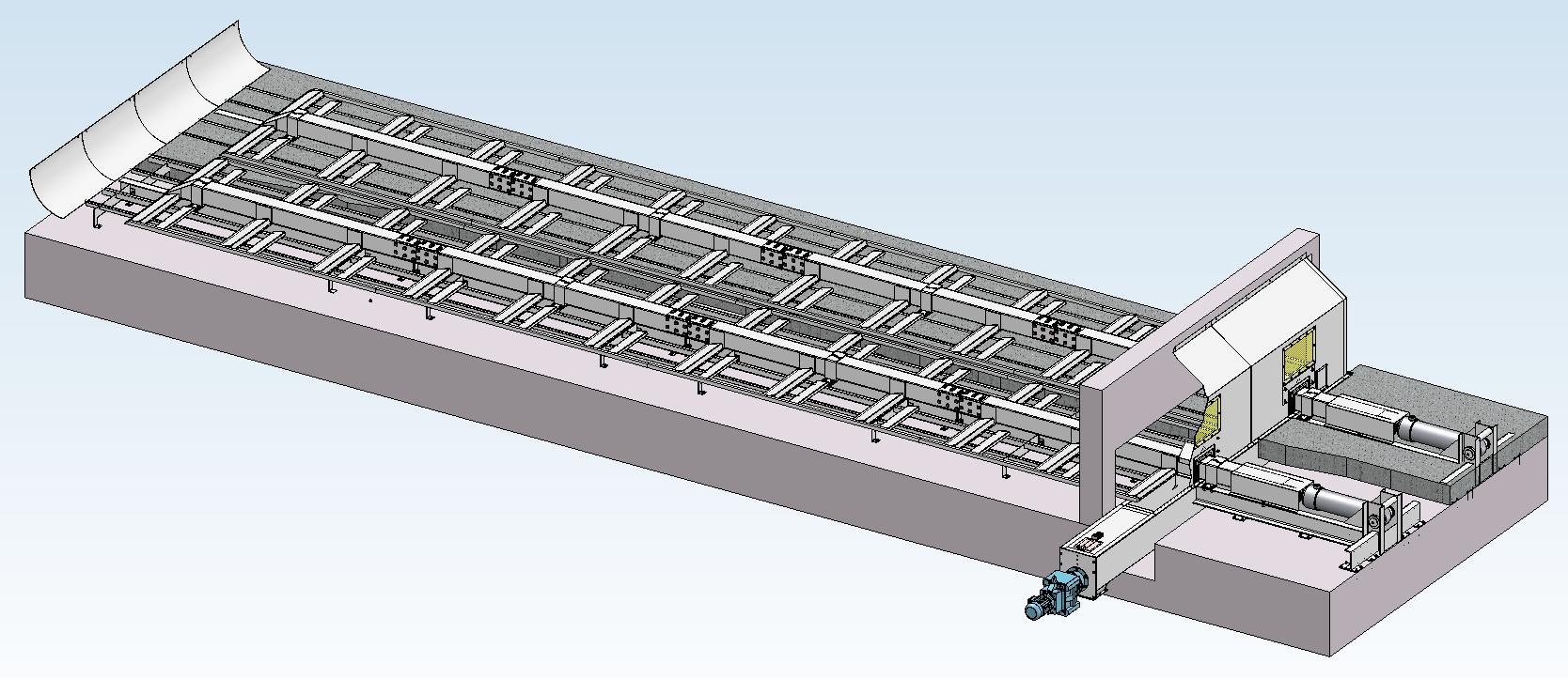 Schubbodenaustragung Holzfeuerungsanlage Schnittbild