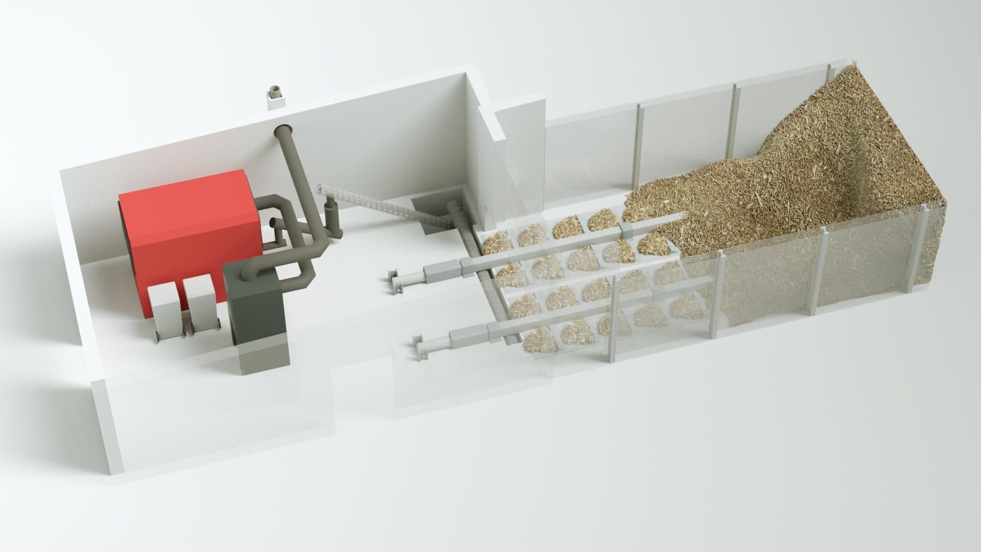 Modell bild Nolting Holzfeuerung System mit Vorratsraum und Schubsystem