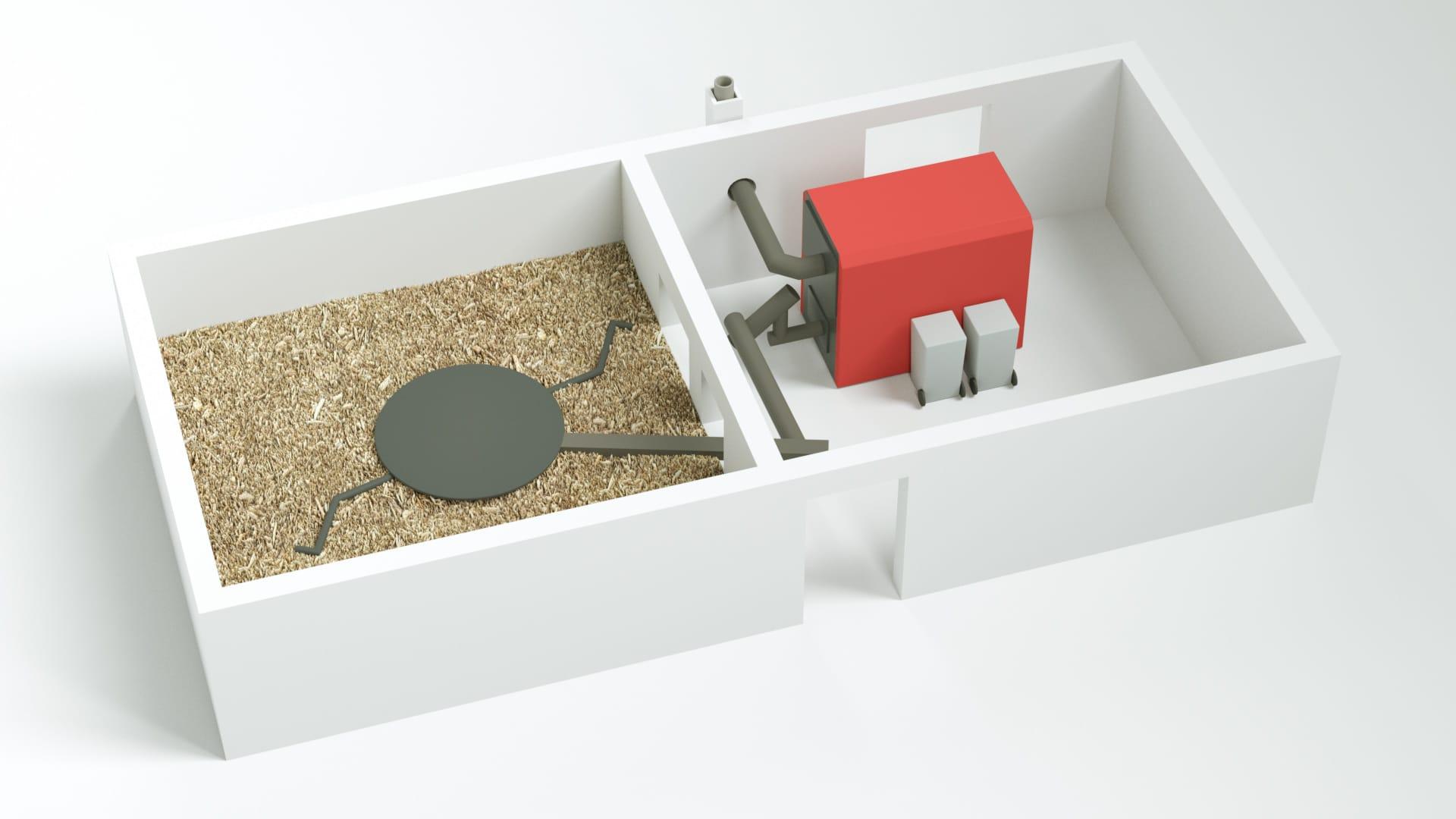 Modellbild Nolting Holzfeuerung System mit Vorratsraum